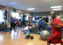 Circuit Training conditioning intervals, during Boot camp class at Personal Training Studio Rockland County