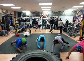 Boot Camp Boxing Gym in Rockland county, class pic Med ball drill with Personal trainer