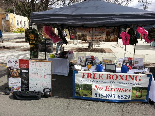 Street fair in Nanuet, Nyack, pearl river, and suffern, promoting personal training, Boot camp and boxing classes, marketing table