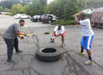 outdoor bootcamp class nanuet, sledgehammer tire slams