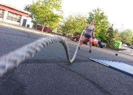 outdoor battle ropes workout with personal trainer in Nanuet NY studio gym