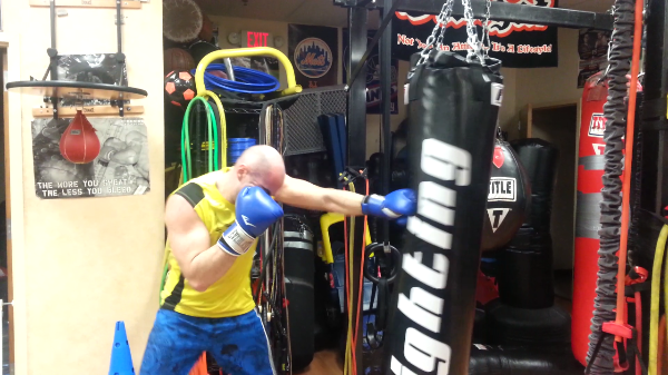 Heavy Bag punch combination drills, boxing trainer steve in Nanuet, NY