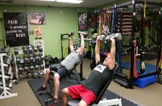Strength and Conditioning Boot Camp class in Nanuet, Incline Dumbell Bench Press