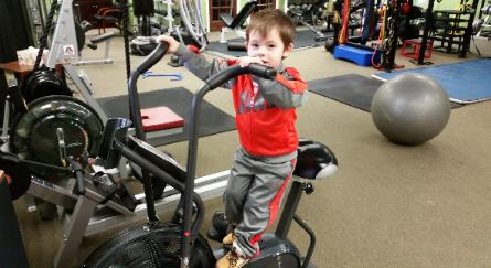 Gym in rockland county, open for anyone, senior fitness, kids workout, tyson on airdyne bike