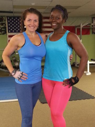 weight Loss personal trainer eva, with challenge winner during boot camp in Rockland county gym