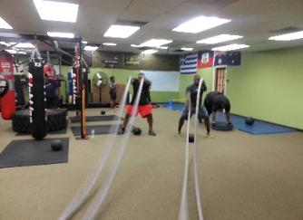 Battle ropes drills, workouts in Nanuet Gym, Boot Camp weight Loss class
