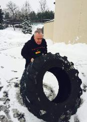 outdoor workouts, Tire flip with personal trainer, Adam in Nanuet fitness gym