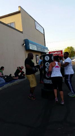 Boxing, Kickboxing outdoors boot camp class, at Nanuet gym on Route 59