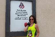 Personal Trainer Eva, outside of Rockland County Boot Camp Gym, doing Kettlebell Workout