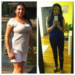 Before and after pic, boot camp and personal training client with extreme weight loss
