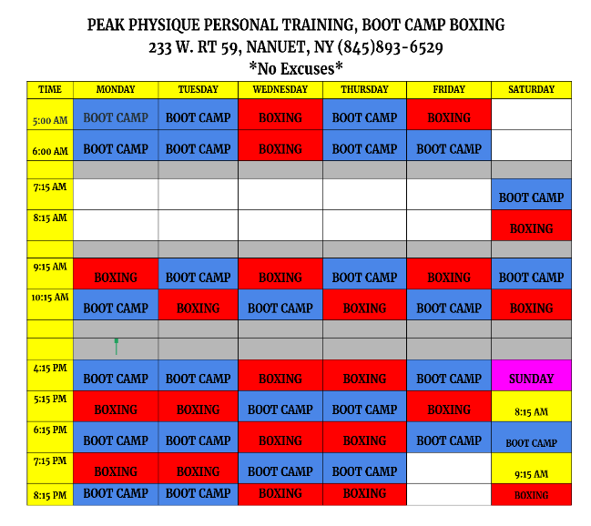 Boot Camp, Boxing classes Schedule in Nanuet Gym- Rockland County