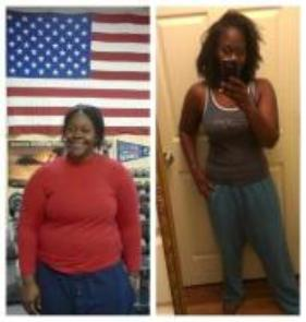 Real weight loss results, before and after pic.  Pascale lose weight with meal planning and boot camp class