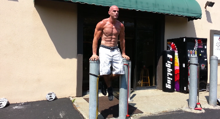Steve Eckert, personal trainer, owner, instructor, outdoor workout at training studio Peak Physique in Nanuet NY